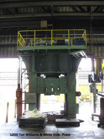 Used 1979 1200 ton Williams and White 4 post hydraulic metal stamping press for sale