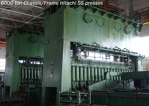 used 6000 ton Hitachi USI Clearing Model S2-6000-1100-200 presses are perfect for use in manufacturing frames / chassis for Trucks, Buses, Light rail cars and heavy rail cars, along with heavy steel plate stampings and transfer die stampings..