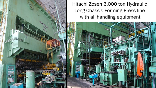 Hitachi Zosen 6,000 ton Hydraulic Long Chassis Forming Press, this is a complete Line w/all handling equipment,